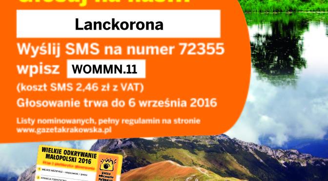 Zapraszany do udziału w plebiscycie – Wielkie odkrywanie Małopolski 2016