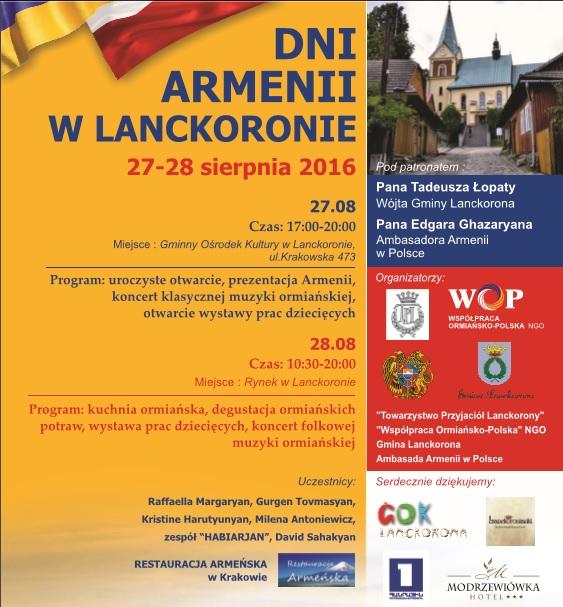 DNI ARMENII W LANCKORONIE – 27 – 28 sierpnia 2016 r. (sobota – niedziela)