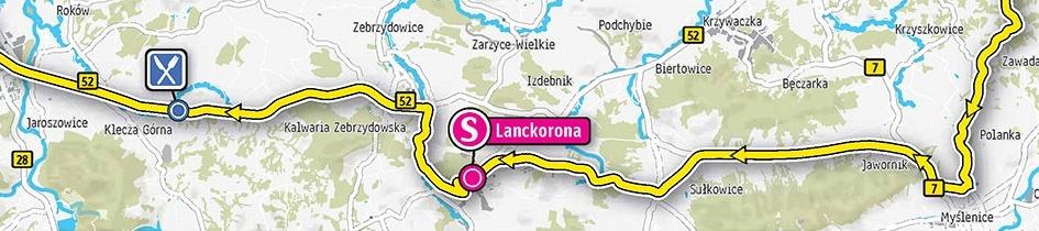 Trasa przejazdu przez Jastrzębię i Lanckoronę