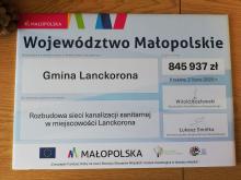 845 937 zł na rozbudowę kanalizacji sanitarnej w miejscowości Lanckorona